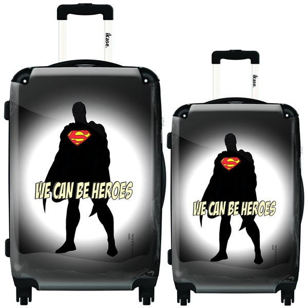 iKase Superman Black/ Grey 'We Can Be Heroes' 2-piece Hardside Spinner Luggage Set
