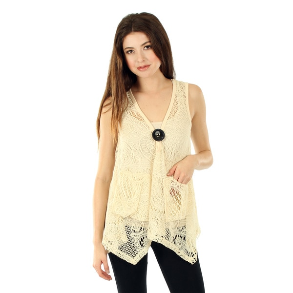 Firmiana Women's Cream Crocheted Tunic Vest