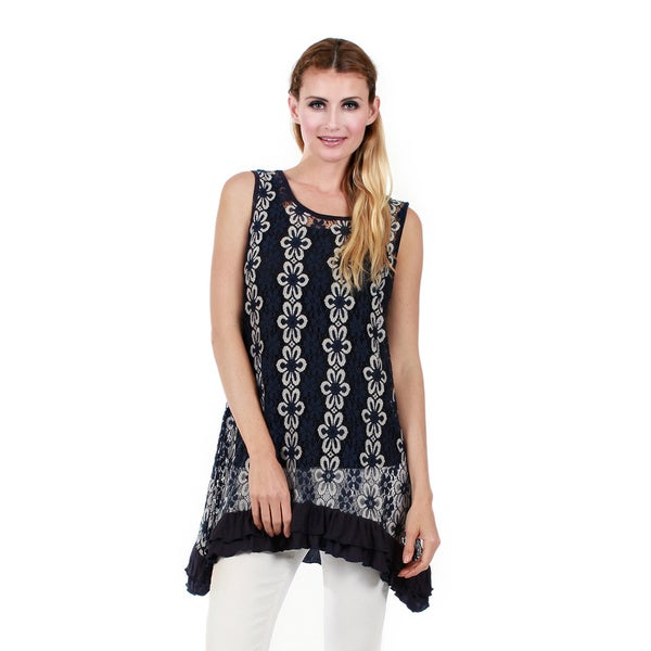 Firmiana Women's Sleeveless Blue/ White Floral Tunic with Ruffle