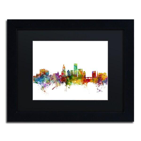 Michael Tompsett 'Providence Rhode Island Skyline' Black Matte, Black Framed Canvas Wall Art