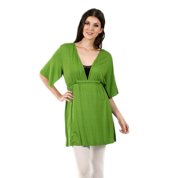 Firmiana Women's Short-Sleeve Green Waist-Tie Tunic