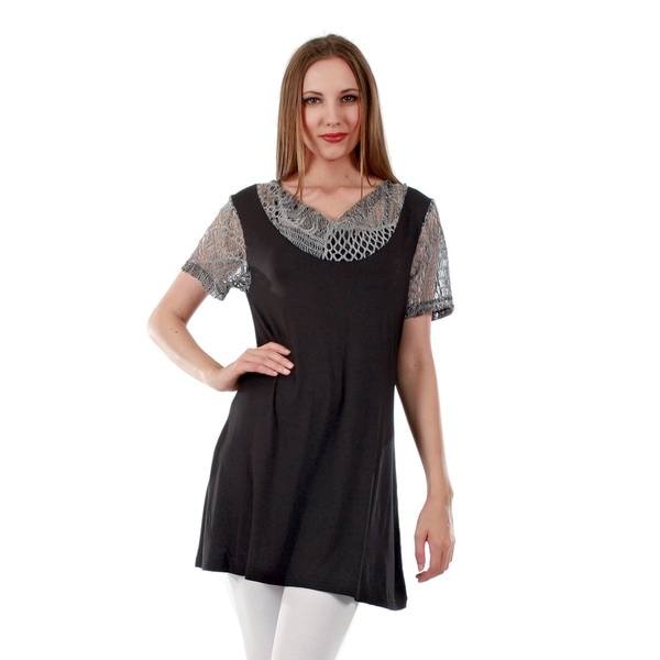 Firmiana Women's Short Sleeve Black/ Grey Crochet Tunic