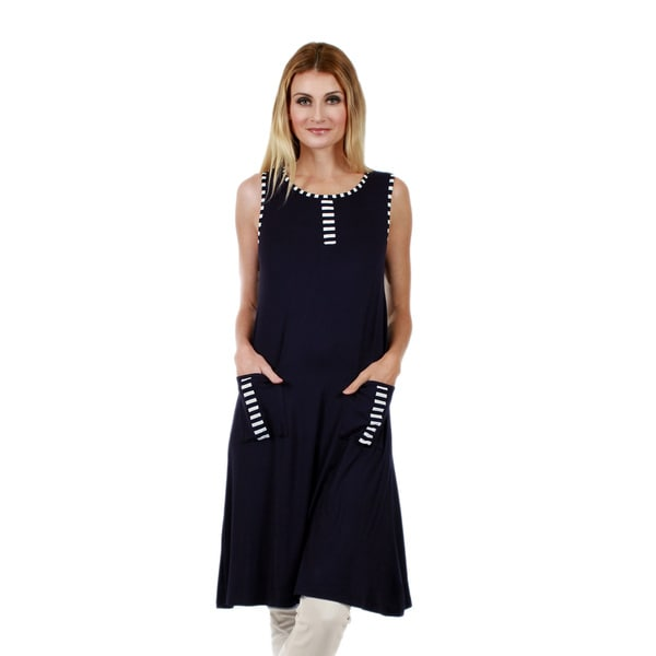 Firmiana Women's Sleeveless Blue and White Pocket Tunic