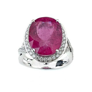 Neda Behnam DFAC 18k White Gold Pink Tourmaline and 1ct TDW Diamond Cocktail Ring (G-H, SI1-SI2)