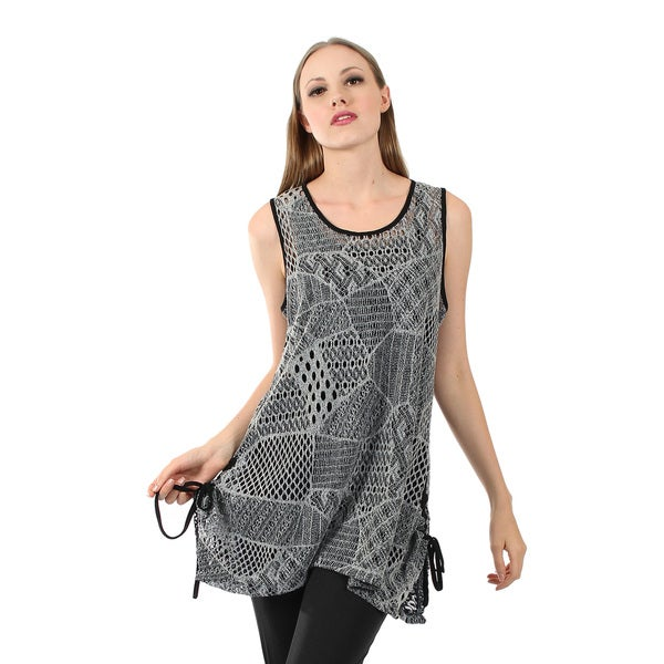 Firmiana Women's Sleeveless Black and Grey Crochet Tunic