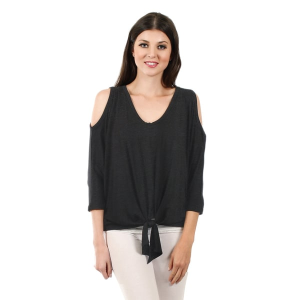 Firmiana Women's Hacci Deep Grey Cut-Out Shoulder Top with Front-tie
