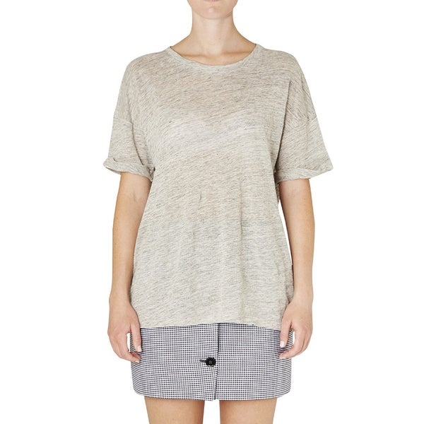 Women's Frame Denim Grey Linen Short Sleeve T-Shirt