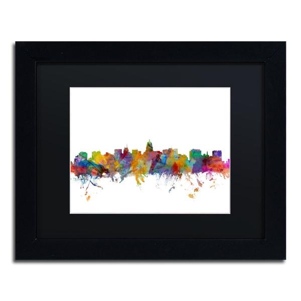 Michael Tompsett 'Madison Wisconsin Skyline' Black Matte, Black Framed Canvas Wall Art