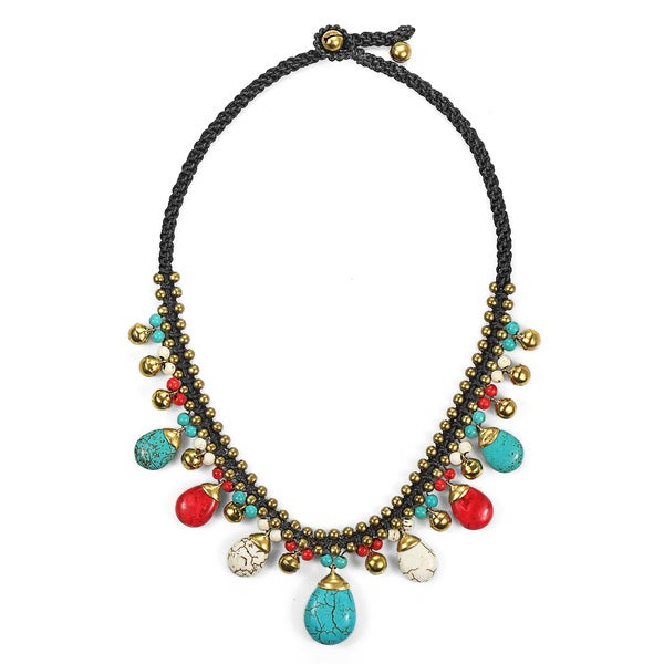 Earthy Multicolor Stone Brass Macrame Jingle Bell Necklace (Thailand)