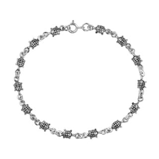 Mini Travelling Sea Turtles Link .925 Silver Bracelet (Thailand)