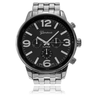 Geneva Platinum Men's Large Round Case Link Watch