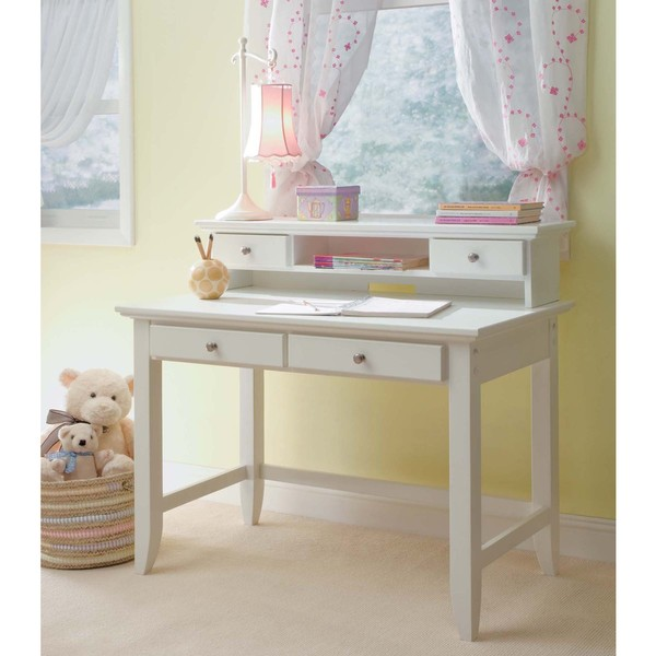 Home Styles Naples Student Desk with Hutch - White