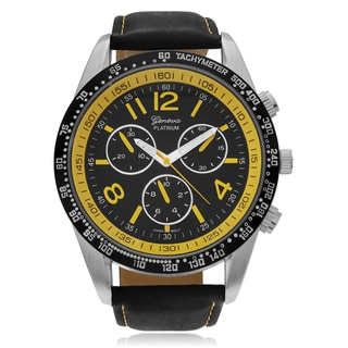 Geneva Platinum Men's Chronograph-style Genuine Leather Strap Watch