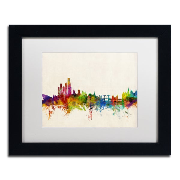 Michael Tompsett 'Amsterdam The Netherlands Skyline' White Matte, Black Framed Canvas Wall Art