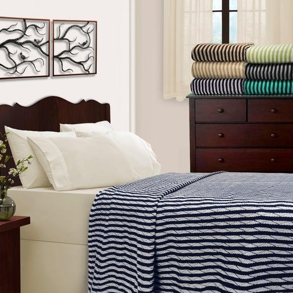 Superior All-Season Luxurious 100% Cotton Stripe Blankets