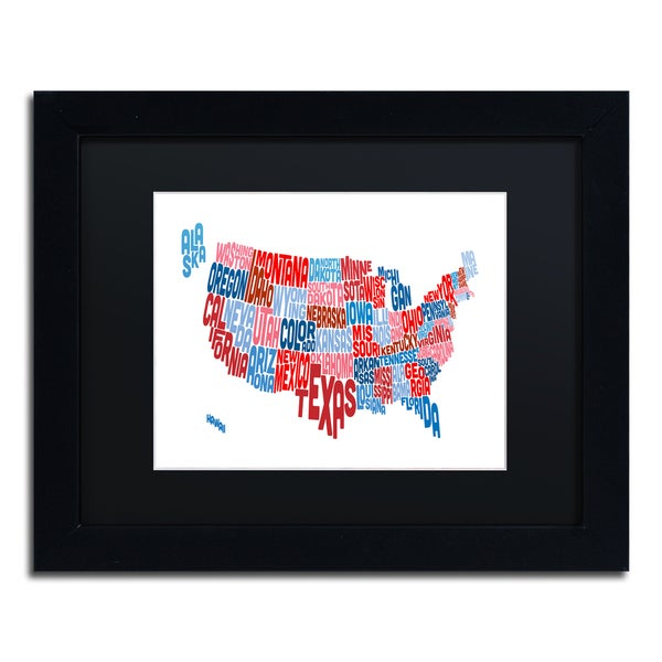 Michael Tompsett 'United States Typography Text Map' Black Matte, Black Framed Canvas Wall Art
