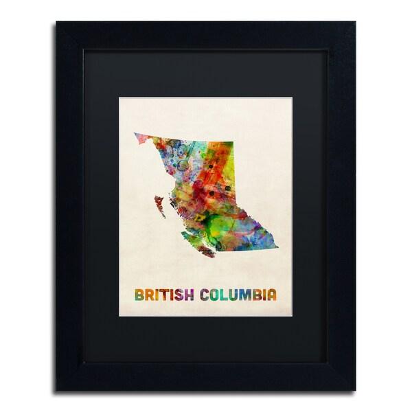 Michael Tompsett 'British Columbia Watercolor Map' Black Matte, Black Framed Canvas Wall Art