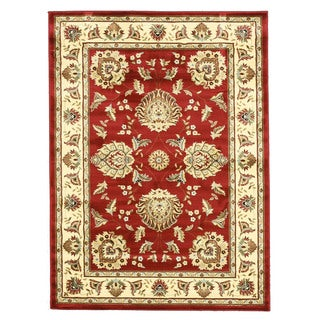 EORC Machinemade Polypropylene Red Allover Kashan Rug (5'3 x 7'3)