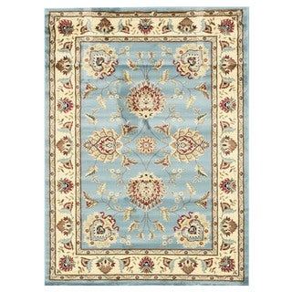 EORC Machinemade Polypropylene Blue Allover Kashan Rug (5'3 x 7'3)