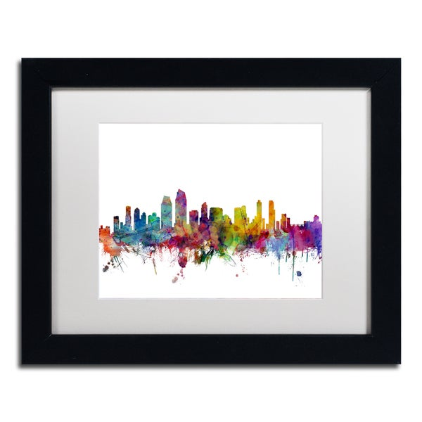 Michael Tompsett 'San Diego California Skyline' White Matte, Black Framed Canvas Wall Art