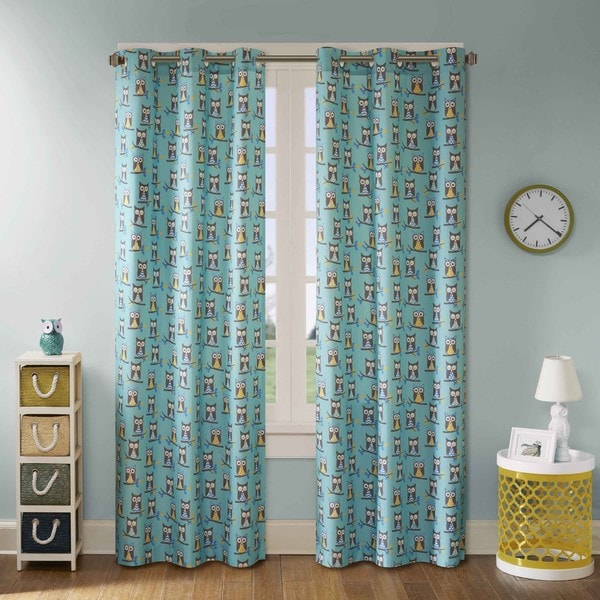 Mi Zone Luna Owl Printed Grommet Top Curtain Panel Pair 16837961