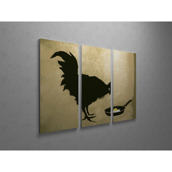 'Banksy 'Chicken and Fried Egg' Triptych Gallery Wrapped Canvas Wall Art