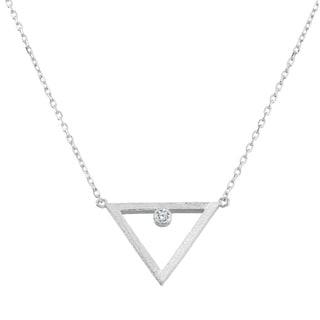 La Preciosa Sterling Silver Open Triangle with Cubic Zirconia Necklace