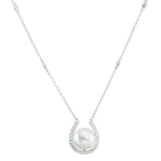 La Preciosa Sterling Silver Freshewater Pearl Cubic Zirconia Horseshoe Necklace