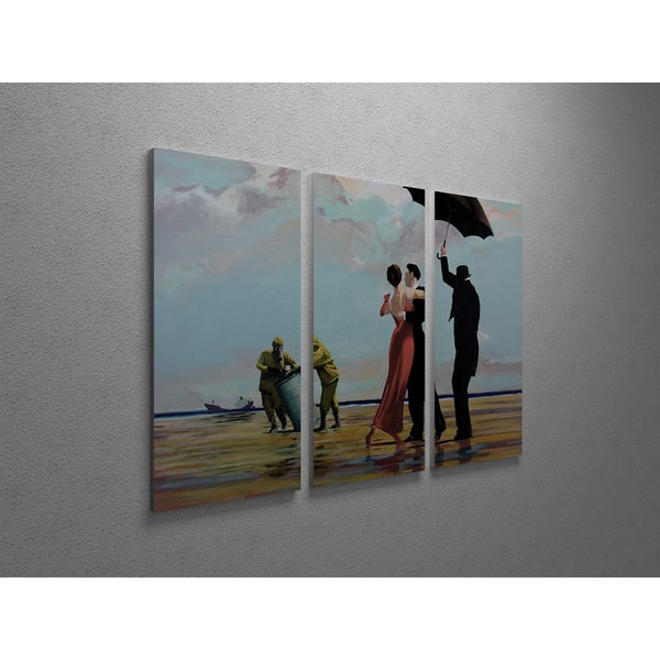 'Banksy 'Tango on Toxic Waste' Triptych Gallery Wrapped Canvas Wall Art