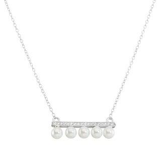La Preciosa Sterling Silver Cubic Zirconia and Freshwater Pearl Bar Necklace