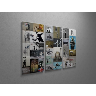 'Banksy 'Banksy Collection' Triptych Gallery Wrapped Canvas Wall Art