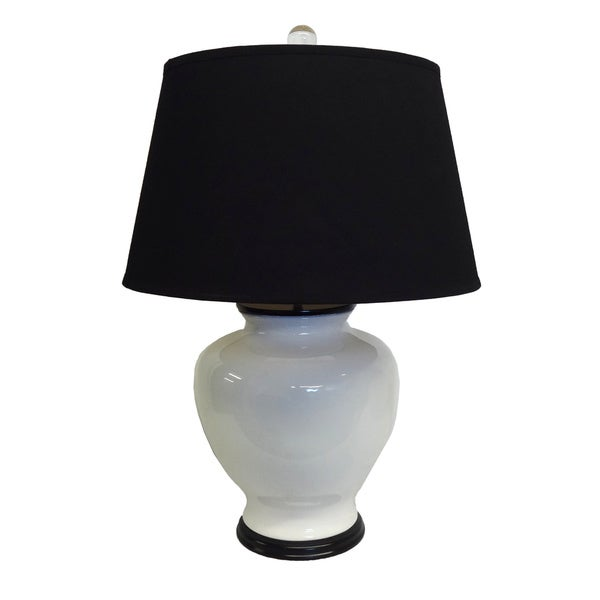 White Chic Porcelain Lamp with Black Shade and Wood Base