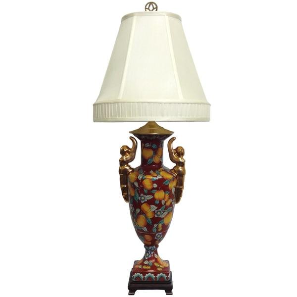 Tall Peaches Porcelain Lamp