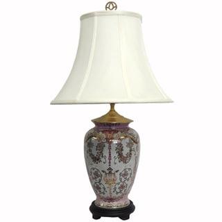 Enchanted Pink Small Garden Porcelain Lamp