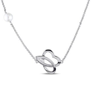 Julianna B Sterling Silver Cultured Freshwater White Pearl Station Necklace (9-9.5 mm)