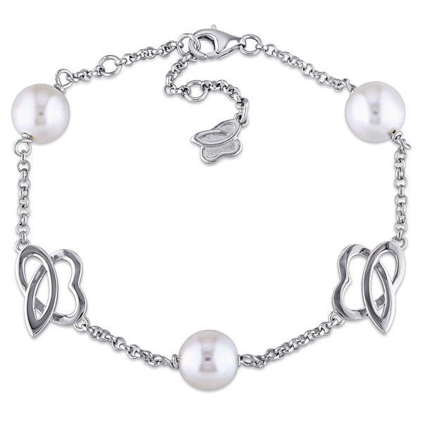 Julianna B Sterling Silver Cultured Freshwater White Pearl Charm Bracelet (8-8.5 mm)