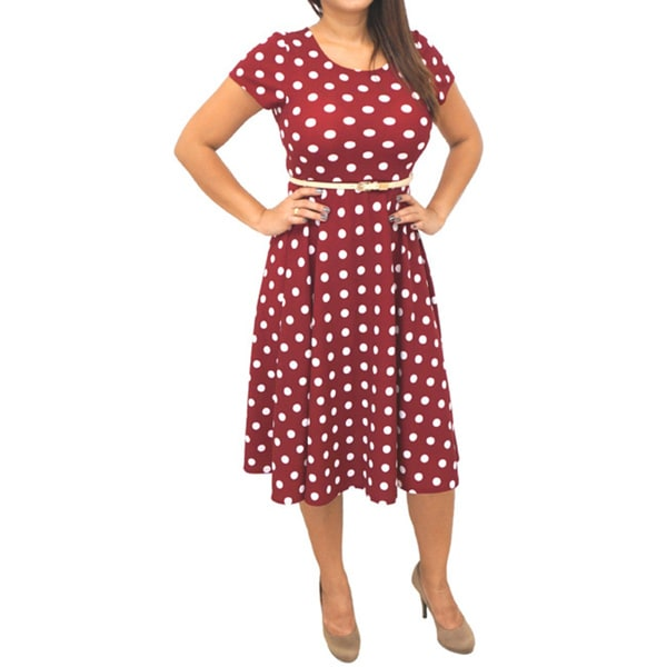 Women's Short Sleeve Red/ White Polka Dots Dress