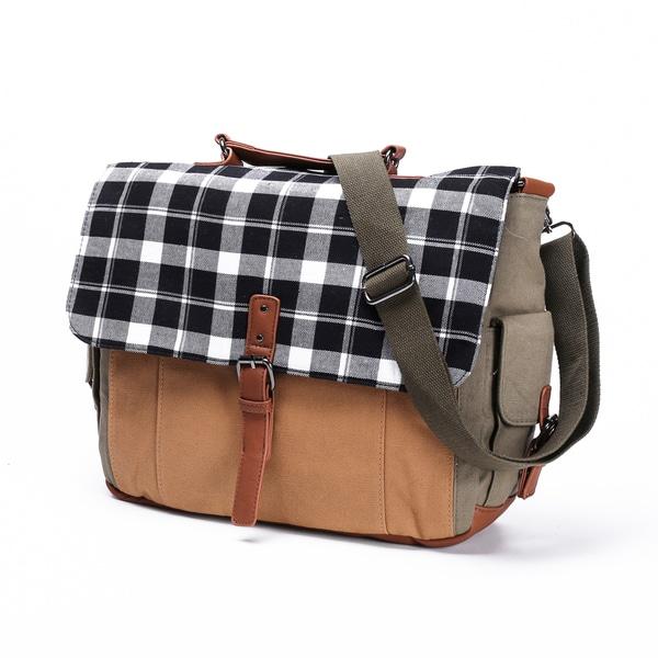 Something Strong Beige Canvas Tablet Messenger Bag
