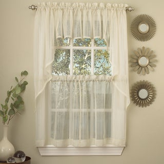 Ivory Micro-Striped Semi Sheer Window Curtain Pieces - Tiers, Valance and Swag Options