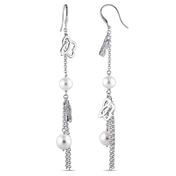 Julianna B Sterling Silver Cultured Freshwater White Pearl Drop Earrings