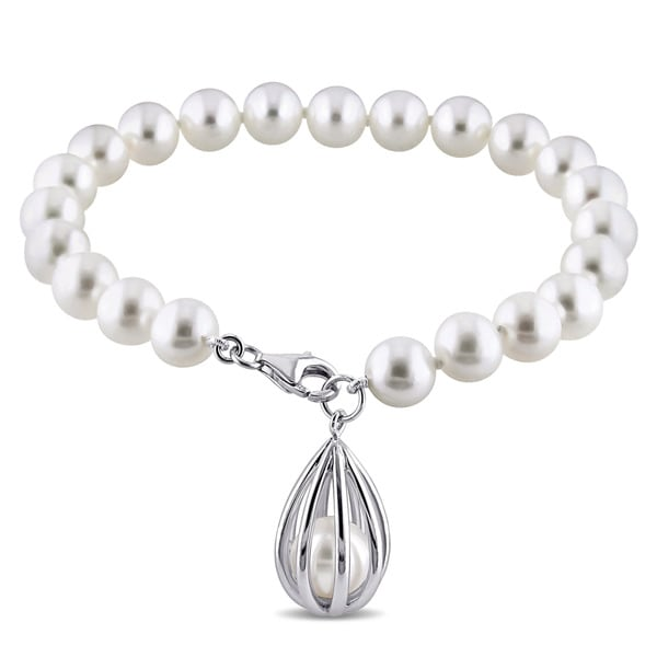 Julianna B Sterling Silver Cultured Freshwater White Pearl Charm Bracelet