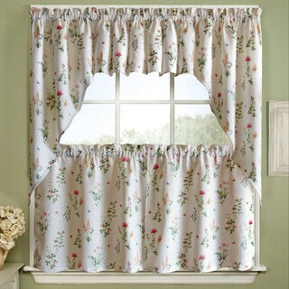 Vibrant Floral Garden Motif Jacquard Window Curtain Pieces - Tiers, Valance and Swag Pair Options