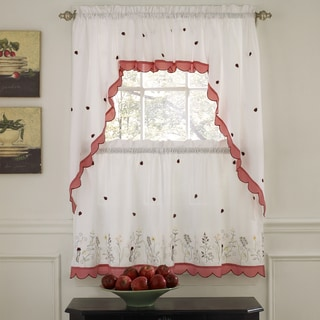 Embroidered Ladybugs Window Curtain Pieces