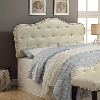 Furniture of America Ivory Little Missy Leatherette Button Tufted Headboard