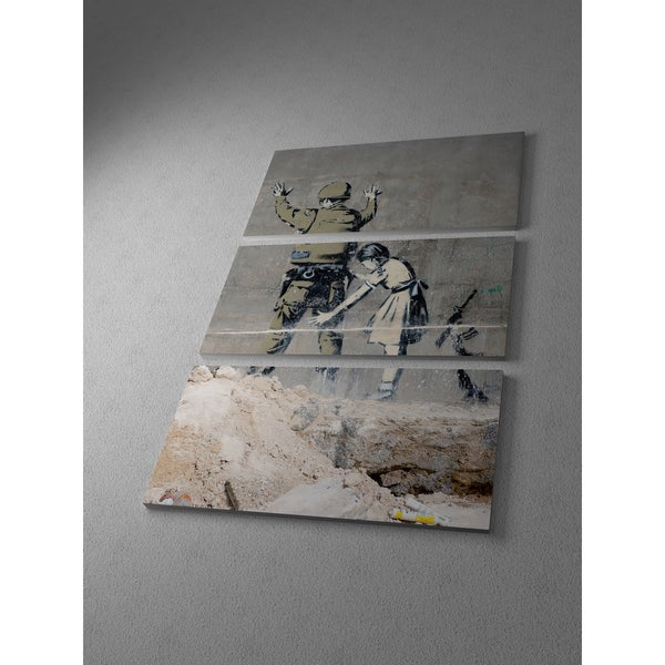 'Banksy 'Graffiti in Bethlehem' Triptych Gallery Wrapped Canvas Wall Art