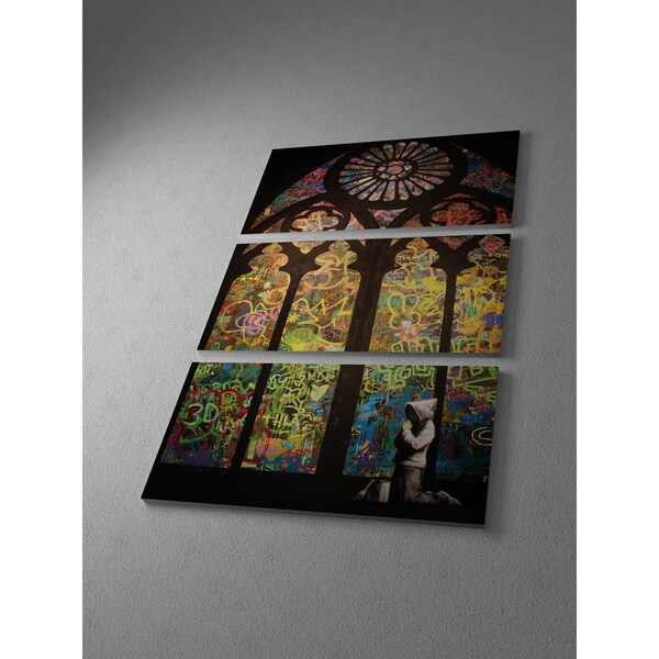 Banksy 'Stained Glass Cathedral' Triptych Gallery-wrapped Canvas Wall Art 16838335