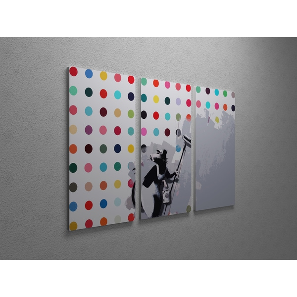 'Banksy 'Hirst Spot Rat' Triptych Gallery Wrapped Canvas Wall Art 16838342