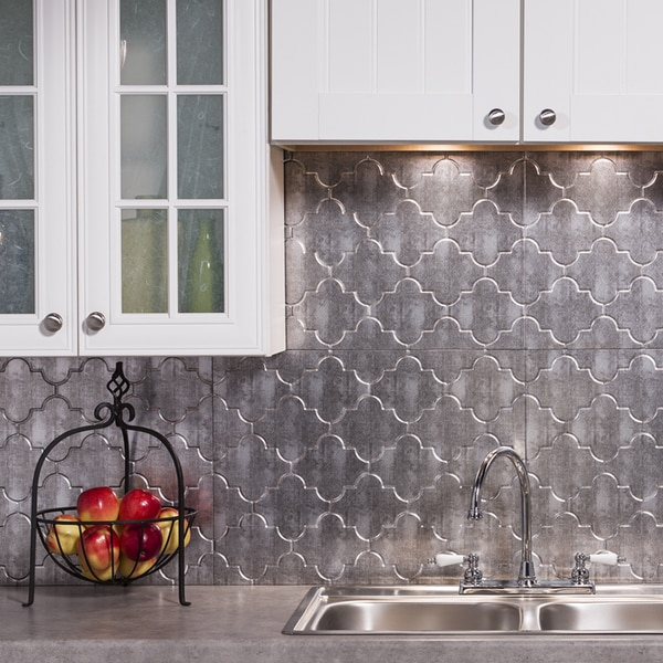Fasade Monoco Crosshatch Silver Backsplash Panel