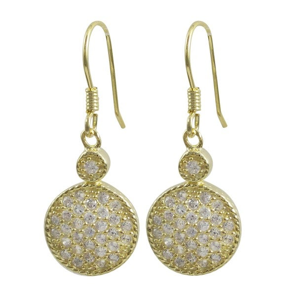 Luxiro Gold Finish Sterling Silver Pave Cubic Zirconia Circle Earrings 17079819