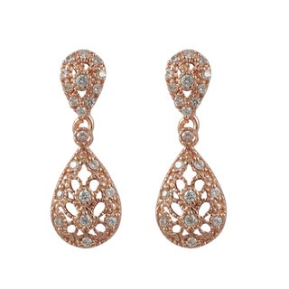 Rose Gold Finish Sterling Silver Pave Cubic Zirconia Lacy Teardrop Earrings